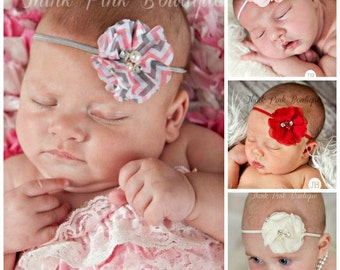 U PICK COLOR Baby Headband, Baby Headbands,Baby girl Headband,Newborn Headband, Small Bow Headband, Chevron Headband,Baby Hair Bows.