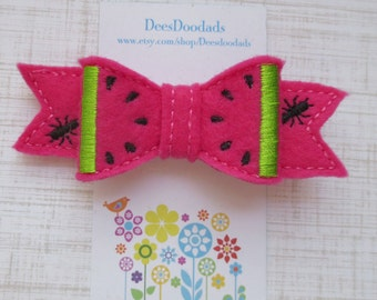 Hot Pink Watermelon 3D Felt Embroidered Hair Bow