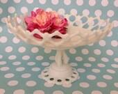 Vintage milk glass cake stand bowl