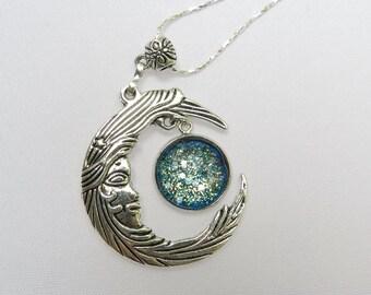 Crescent Moon Jewelry ~ Moon Necklace ~ Glitter Jewelry ~ Nail Polish Cabochon