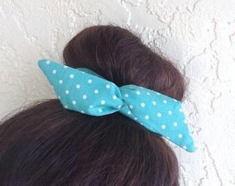 "Wire Bun Wrap, Top Knot Wire Wrap Teal with mini White Polka Dots ""Mini"" Dolly Bow Wire Headband Ponytail Hair tie Hair Bun Tie Wrap"