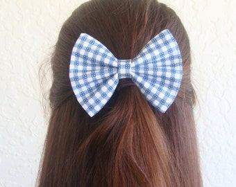 Blue Gingham Hair Bow Vintage Inspired Hair Clip Rockabilly Dorthy Costume Halloween Pin up Teen Woman Alligator Clip, French Barrette