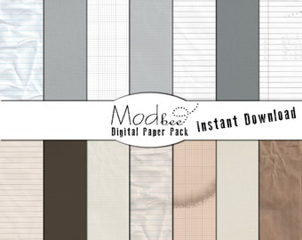 """Digital Paper 14 PACK - Notebook, Textured  Paper, Grid Paper Basics in Warm & Cool Neutrals (300 dpi) -- 14 designs - 12"""" by 12"""" (080)"""