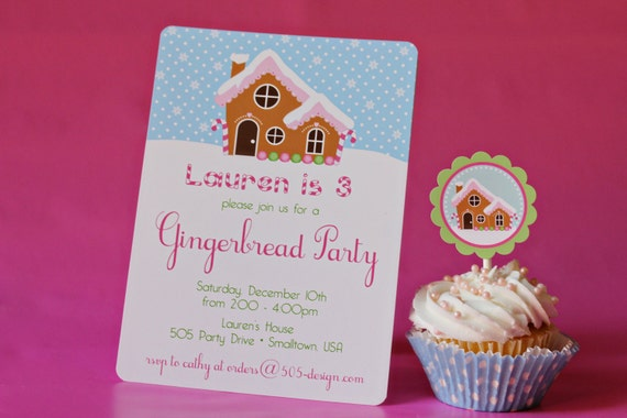 Gingerbread House Invitation - Little Girl Gingerbread House Party by 505 Design, Inc