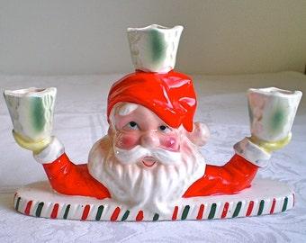 Santa Candleholder Christmas Decoration Vintage Candelabra Home Decor 1960s
