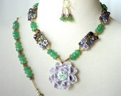 Floral Statement Necklace, Bold Chunky Nekclace, Porcelain Lavender Flower Pendant, Emerald Green Jade, Artisan Necklace