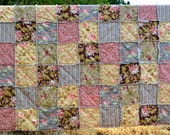 Twin or Full Size Linen Backed Rag Quilt, Late Summer Warm Colors,Cotton and Linen