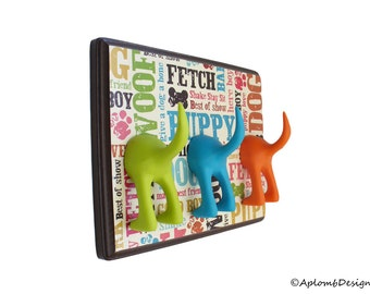 Dog Leash Holder - Triple Tail - Brown Dogcentric - Personalize with Optional Letter Tiles