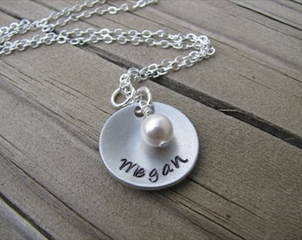 Hand-Stamped Name Necklace-brushed silver domed disc with a name of your choice and an accent bead of choice- Personalized Gift