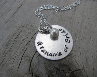 Grandma of Bride Necklace- Hand-Stamped Necklace- with an accent bead of your choice