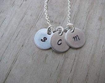 Mother's Necklace- 3 initial disc necklace- Personalized Initials Necklace- 3 Hand-stamped initials- 1/2 inch discs- you choose the initials