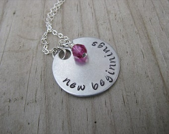 "Inspiration Necklace- ""new beginnings"" with an accent bead in your choice of colors- Hand-Stamped Jewelry"