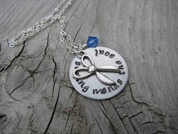 "Sewing Necklace- Hand-Stamped Necklace with""sewing mends the soul"" and antique silver scissors, with an accent bead in your choice of colors"