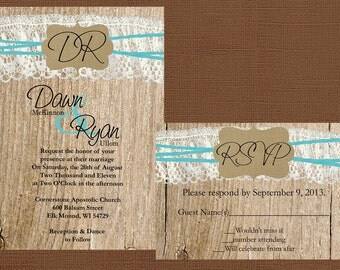Rustic Wedding Invitation, Lace and Burlap Wedding Invitation, Wood Wedding Invitaiton, Custom