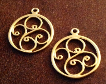 2 Vermeil Scroll Charms - Chandeliers or Pendants   14.5mm Round  C60