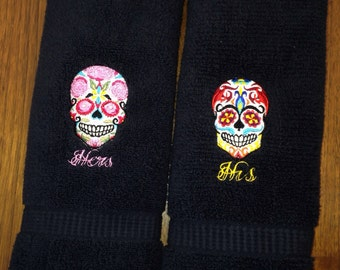 Embroidered Sugar Skull Towel Set