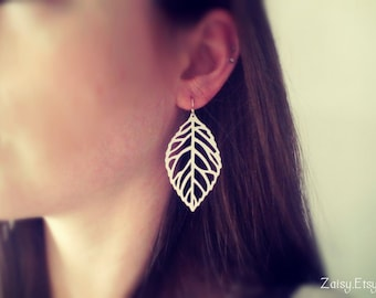 Bohemian Leaf Earrings, Red, Black, Blue, White, Brass, Choose Your Color, One Pair (1)