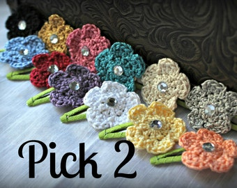 Small Crochet Flower Hair Clips with Rhinestone Centers, Set of 2 of your choice