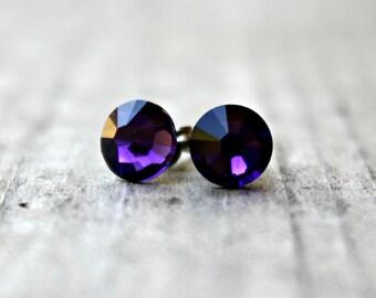 Titanium Earrings, Purple Velvet Swarovski Crystal, Hypoallergenic