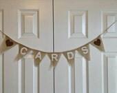 CARDS Mini Burlap Bunting Banner Garland  Wedding Reception Decoration - We Do Custom Banners by SheriSewSweet