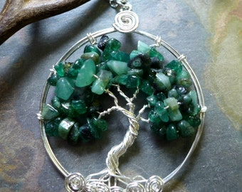 Tree of Life Pendant Necklace with Sterling Silver Chain,Aventurine/Jade /Malachite Gemstone Necklace - May Birthstone Tree of Life Pendant