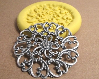 Filigree Circle Design  - Flexible Silicone Mold - Push Mold, Jewelry Mold, Polymer Clay Mold, Resin Mold, Craft Mold, PMC Mold