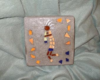 Orange and Dark Blue Kokopelli Small Square Mosaic Stepping Stone