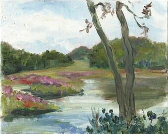 Marsh Trees Clouds Waterloo Village Original acrylic landscape painting 8x10