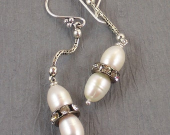 SALE ~ Two Swans ~ Old World Statement Cultured Pearl & Crystal Rhinestone Earrings ~ Wedding Collection