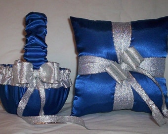 Blue Horizon Satin With Silver Ribbon Trim Flower Girl Basket And Ring Bearer Pillow 2
