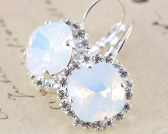 Bridesmaid Earrings Set of 6 Pairs White Earrings Opal Earrings White Wedding Swarovski Crystal Silver Halo Also Avail As Clip On Earrings
