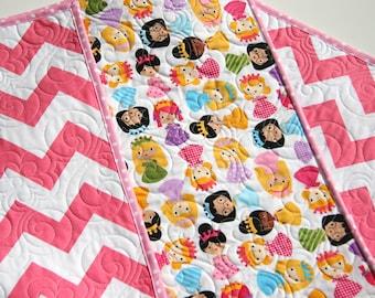 SALE Chevron Quilt, Princess Baby Girl Blanket, Girlfriends Dolls, Purple Lavender Aqua Pink, Modern Bedding, Crib Nursery