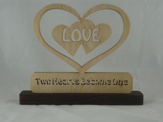"Wedding Gift Decor Double Hearts Love Inside Heart ""Two Hearts Become One"" Handmade"