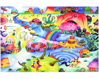 Invasion of Mirutanki Mini Art Print 7.5 x 5 // Whimsical Painting Surreal Fantasy Landscape Illustration