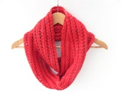 Red Snood , Chunky Womens Cowl , handknit red scarf ,  chunky lace knit , woolly winter accessory , gift for her, christmasinjuly , cij