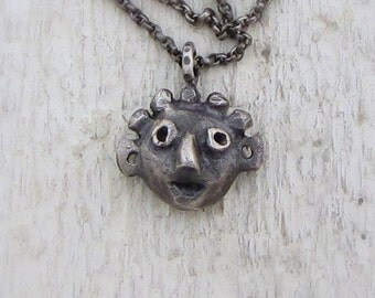 Face Pendant - Sterling Silver Face Necklace - Tribal Silver Pendant