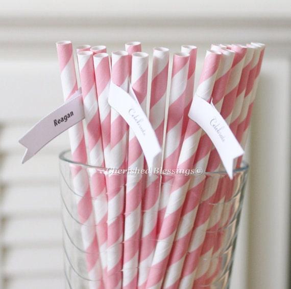 25 Pink Paper Straws, Baby Pink Paper Straws, Pink Striped Straws, Baby Shower, Wedding Straws, Birthday, Vintage Retro Straws Made in USA