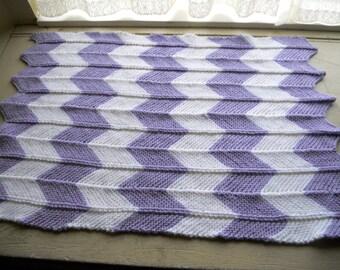 Baby Stroller Blanket, hand knitted chevron