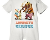 Baby, Toddler Boy, Girl PERSONALIZED Romper -Circus' Curiosities, Vintage Circus, Clown, Elephant, Birthday Outfit
