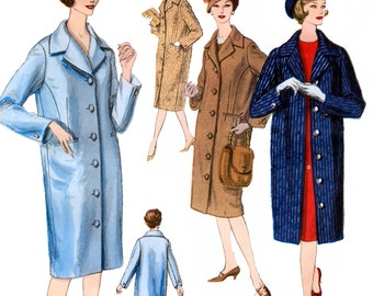 Vogue 3003 Vintage 50s Misses' Coat Sewing Pattern - Uncut - Size 12 - Bust 32
