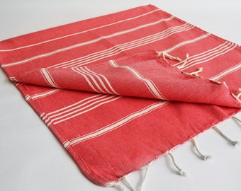 SALE 50 OFF/ Head and Hand Towel / Classic Style / SET / 2 Towels / Red - White striped