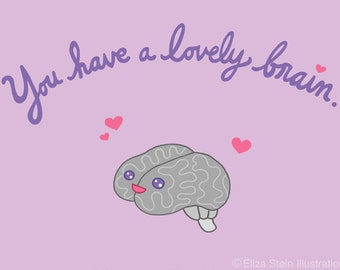 Blank Card, Kawaii Brain, Pink and Purple, 5x7 Greeting Card, Weird, Inspirational, Friendship, Graduation Card, Valentine for Friend