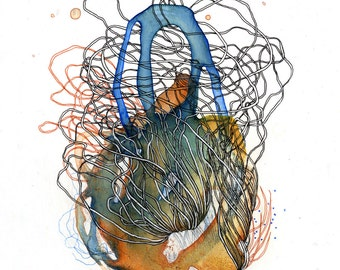 Element XV archival print / digital print / mixed media painting / liquid acrylic and ink organic drawing