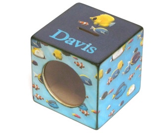 Fish Wood Coin Bank Box - Childs Piggy Bank with Window  - Under the Sea - Personalized
