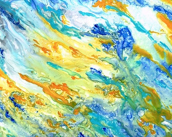 """Original Abstract Painting  Yupo Paper 9.5  X 13 inches """"Sunset Inspired"""" Watercolor Art"""
