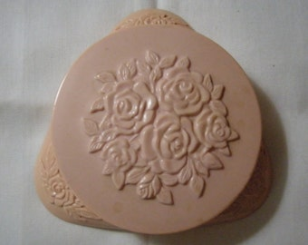 Vintage 1950's Avon Powder Compact in Pink Rose Pattern