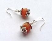 Orange Amber Faceted Carnelian Gemstones, Silver Dangle Earrings