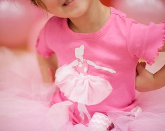 Pink Ballerina Dancer Bodysuit or Shirt NB to 6t