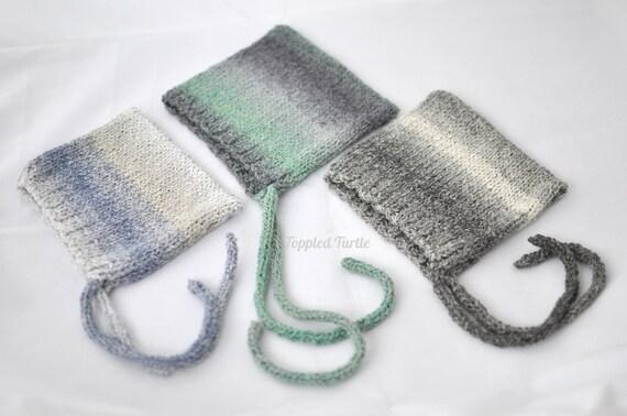 Newborn Boys Photo Prop | Knit Ombre Bonnet | Newborn Pixie Bonnet | Elfin Baby Bonnet | Knit Baby Bonnet