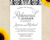 Damask Rehearsal Dinner Invitation --- Printed Invitations or Printable Files